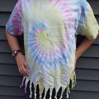 Girls Fringed Tie Dye T-Shirt, Youth XL Tiedye Tee with fringes for the tween hippie, Boho Kids, Hippie Girls Fringe Shirt, Plus Size Girls