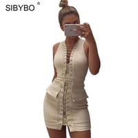 SIBYBO Women Lace Up Suede Leather Dress 2017 Sexy V Neck Sleeveless Bandage Bodycon Short Club Party Dresses Vestidos