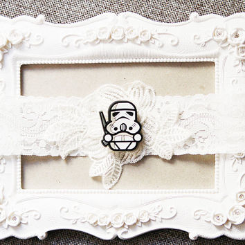 Star Wars Bridal Garter Wedding Garter - Keepsake Garter Lace Garter Geek Nerd Garter Belt