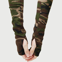 Arm Warmers in Green Brown Camo - Camouflage Fingerless Gloves