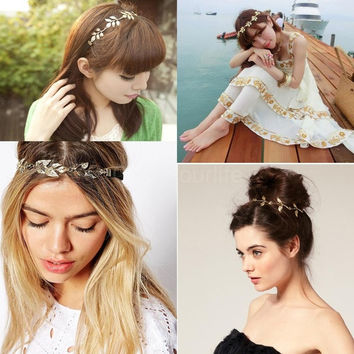 Elegant Chic Design Lovely Charming Lady Hollow Leaf Flower Elastic Hair Band Headband J0038|26701 = 1958192964