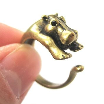 Hippo hippopotamus Animal Wrap Ring in Brass - Sizes 4 to 9 Available