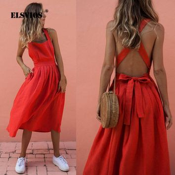 3d33ff20cd61 ELSVIOS Summer Sleeveless Bow Tie Up Pleated Party Dress Women S