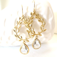 Gold Leaf Earrings Clear Crystal Earrings Greek Goddess Grecian Jewelry Gold Wedding Jewelry Gold Bridesmaid Earrings Bridal Jewelry