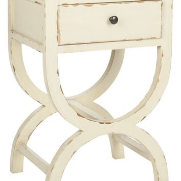 Maxine Accent Table With Storage Drawer Vintage Cream