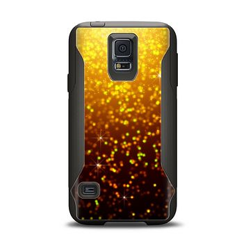 The Bright Gold Glowing Sparks Samsung Galaxy S5 Otterbox Commuter Case Skin Set