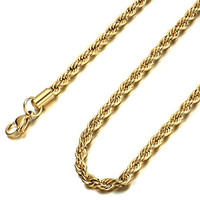 FUNRUN 20-Stainless Steel Mens Cord Necklace Rope Chain,Gold-tone,5mm 20-30 inches