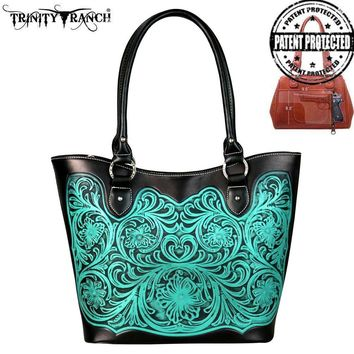 Trinity Ranch Tooled Leather Collection Concealed Handgun Tote (various colors available)