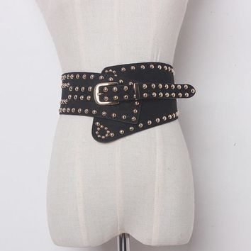 Women Punk Ultra Wide Belt Elastic Faux Leather Rivet Cummerbund