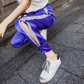 Hiphop Pants Women Summer Harem Pants Harajuku Split Pants Womens Casual Thin Feet Trousers Sweatpants