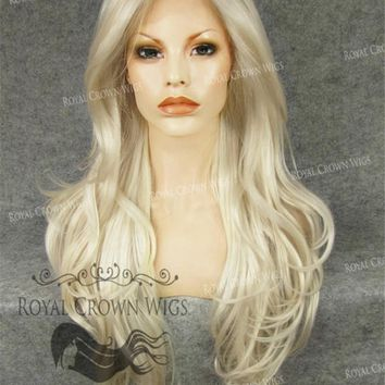 """26"""" Heat Safe Synthetic Lace Front """"Constance"""" with Curly Texture in White/Platinum Blonde Mix"""