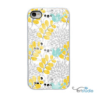 Yellow Gray Blue Flower Bird White or Black iPhone by artstudio54