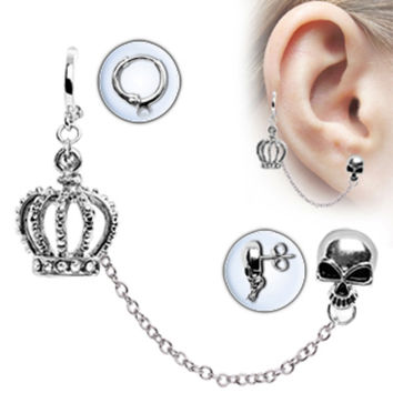 316L Surgical Steel Chained Crown & Skull Cartilage Earring