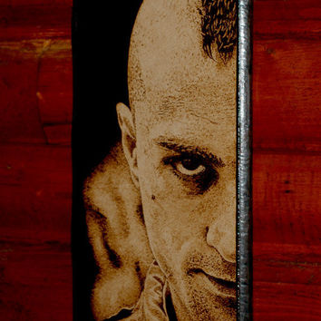 Travis Bickle - woodburned wall decoration