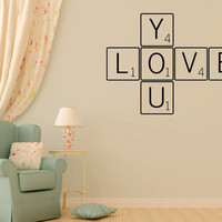 LOVE YOU vinyl wall decal sticker romantic quote love art scrabble game