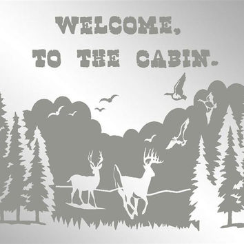 """Welcome To The Cabin Custom Personalized Etched Bar Mirror Pub Signs Man Cave Decor 20"""" x 16"""""""