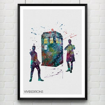 Tardis Doctor Who Poster, Matt Smith and Peter Capaldi Watercolor Print, Kids Wall Art, Home Decor, Not Framed, Buy 2 Get 1 Free! [No. 209]
