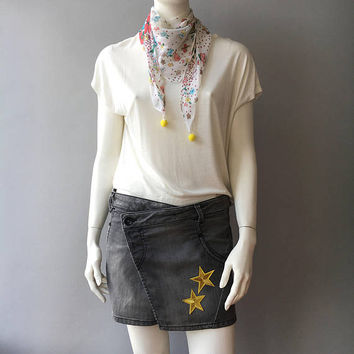 Denim Skirt, Upcycled Skirt,  Embellished Jean, Distressed Jeans, Recycled Upcycled, W28