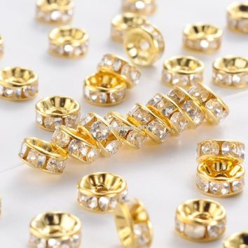 500pcs Grade B 8mm Rondelle Iron Clear Rhinestone Spacer Beads for jewelry making Straight Edge Golden/Silver color