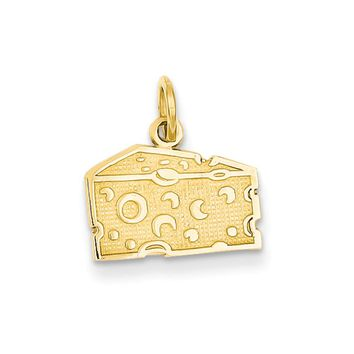 14k Yellow Gold Swiss Cheese Charm or Pendant, 14mm (9/16 inch)