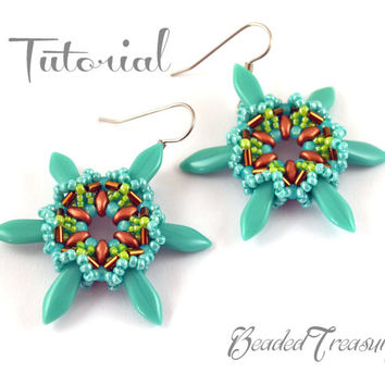 Star Flower - beading earrings pattern / Beading tutorial/ superduo, dagger, bugle, seed beads / TUTORIAL ONLY
