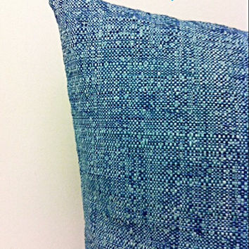 Turquoise Blue Linen Pillow Cover, Blue Pillow, Blue Linen Pillow, Boho Pillow, Throw Pillow, Rustic Pillow, Blue Decorative Pillow Covers