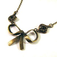Bronzed Bow Necklace Jewelry With Flower Charm Connectors