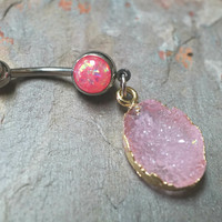 Sparkly Pink Druzy Belly Button Jewelry Ring