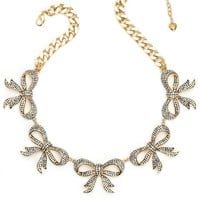 Gold Multi Pave Bow Necklace by Juicy Couture, O/S