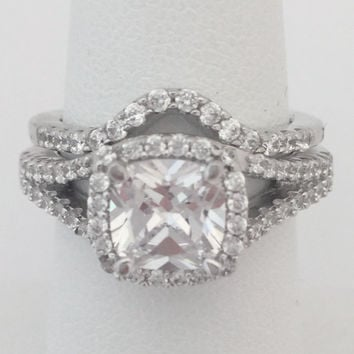 7mm Cushion Cut Cubic Zirconia Halo Engagement Ring with Matching Curved Band 1.5 Carat Bridal Set