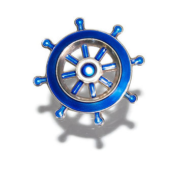 David Andersen Nautical Brooch Vintage Midcentury Guilloche Enamel Ship's Wheel Pin Modernist Minimalist Jewelry Collectibles Accessories