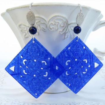 Carved blue jade earrings with lapis italian gemstone jewelry sterling silver 925 Sofia's Bijoux Made in Italy