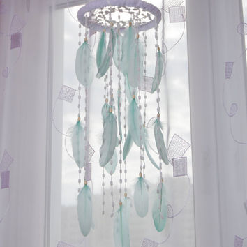 Mint Bаbу Mobile Dream Catcher Nursery Decor Dreamcatcher Boho Crib Dreamcatchers