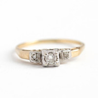 Vintage Diamond Ring - 14k White & Rosy Yellow Gold .14 CTW Diamond Ring - Size 9 Two Tone 1940s Engagement Wedding Square Illusion Jewelry