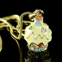 Yellow Gold plated Lemon CUPCAKE Swarovski Crystal Charm Pendant Necklace Xmas