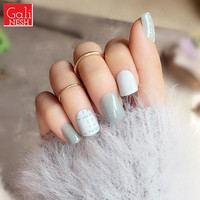 Simple line 24 set manicure finished fake nails Full Tips cover nail art gray