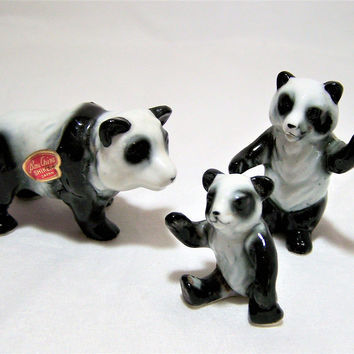 Shiken Japan Bone China Panda Family Figurine,  Miniature Hand Painted Animal, Vintage Figurine, Mid Century Era Zoo 317dgz