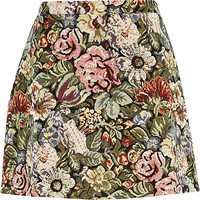 River Island Womens Green tapestry A line skirt