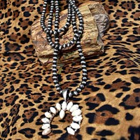 Navajo Beads with White  Squash Blossom Necklace