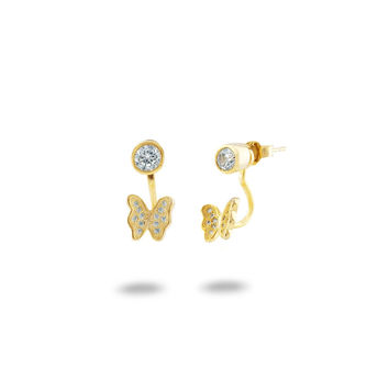 Sterling Silver Butterfly Front Back 2 in 1 Cubic Zirconia AAA Quality Stud and Ear Jacket Cuff Earrings Set