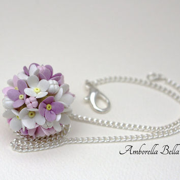 Handmade 'Wildflower' Flower Ball Necklace , unique original perfect gift jewellery clay white girlfriend wife daughter gift present crafted