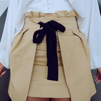Hanging On To You Skirt: Beige/Black