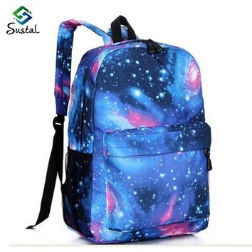 Supreme Multicolor Women Canvas Backpack Stylish Galaxy Star Universe Space Backpack G