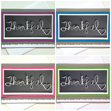 Thankful - Handmade Black and White Photo Greeting Card with Pink, Purple, Blue or Green Background Color - Thanksgiving, Thank You Note