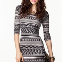 A'GACI Tribal Fun Bodycon Dress - DRESSES