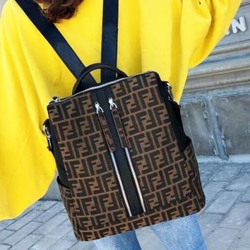 FENDI 2018 new trend classic F letter printing men and women shoulder bag