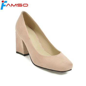 FAMSO 2018 New Spring Arrival Women Pumps Black red 5Color thick Heels Party Shoes Autumn Women's Platforms Pumps