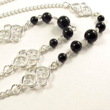 Women's Fashion ID Badge Holder Lanyard Necklace with Pearls and Silver, Exotic Accents