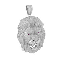 Mens Lion Face Charm Pendant Ruby Eyes Fully Iced Out