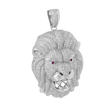 Lion Pendant Ruby Eyes Iced Out Hip Hop
